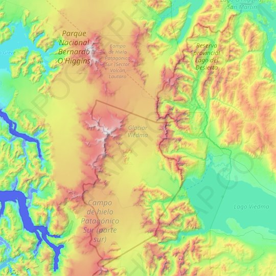 Viedma Glacier topographic map, relief map, elevations map
