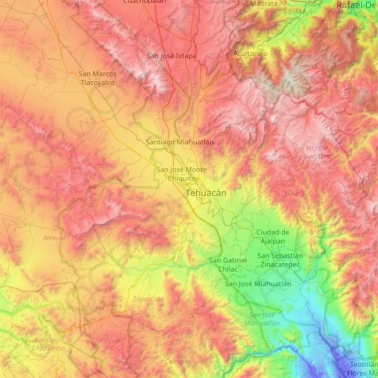 Tehuacán topographic map, relief map, elevations map