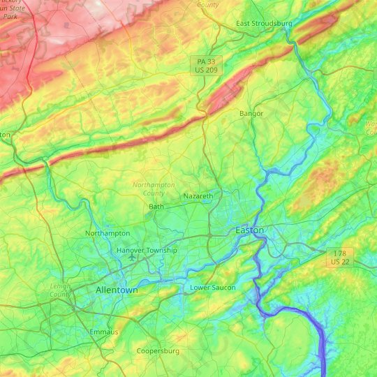 Northampton County topographic map, relief map, elevations map