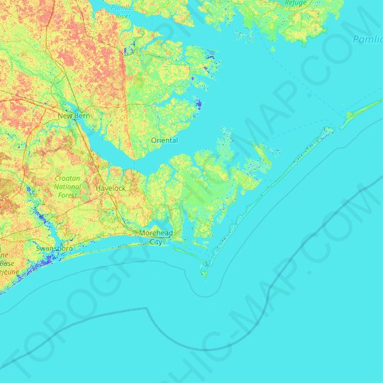 Carteret County topographic map, elevation, relief