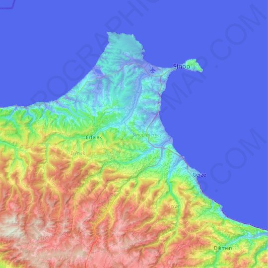 Sinop merkez topographic map, relief map, elevations map