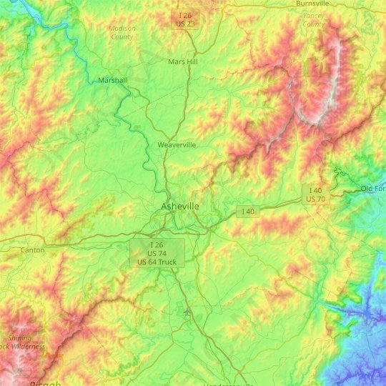 Buncombe County topographic map, relief, elevation