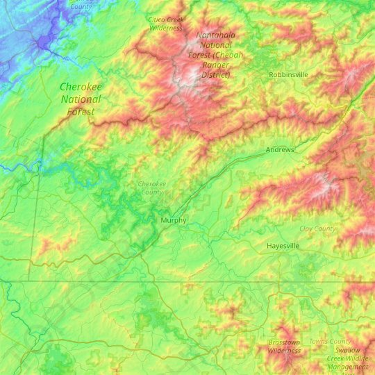 Cherokee County topographic map, elevation, relief