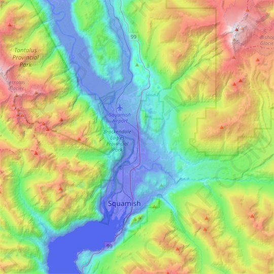 Squamish topographic map, relief map, elevations map
