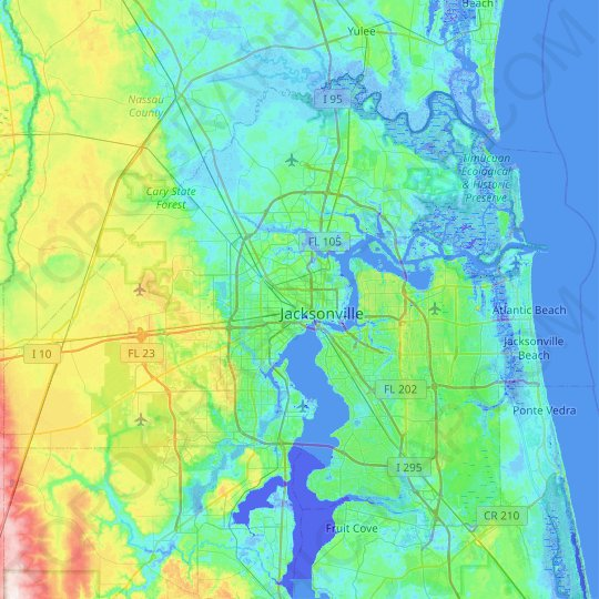 Jacksonville topographic map, relief map, elevations map