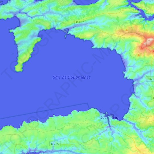 Baie de Douarnenez topographic map, relief map, elevations map