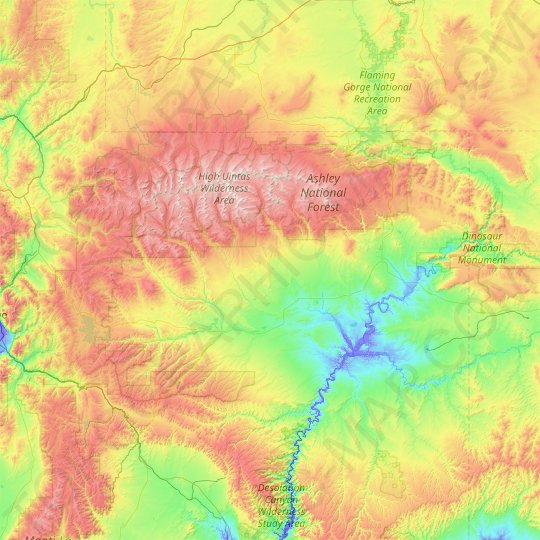 Ashley National Forest topographic map, elevation, relief
