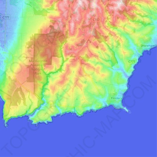 Flinders topographic map, relief map, elevations map