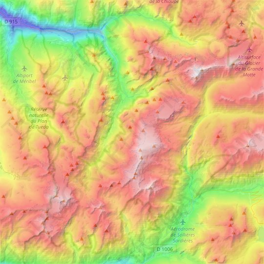 Pralognan-la-Vanoise topographic map, relief map, elevations map
