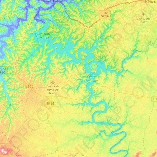 Center Hill Lake topographic map, relief map, elevations map