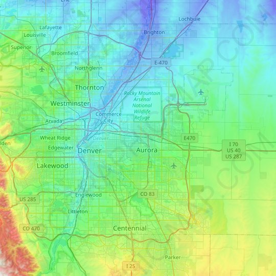 Denver County topographic map, elevation, relief