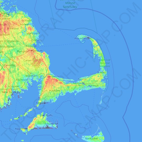 Cape Cod topographic map, elevation, relief