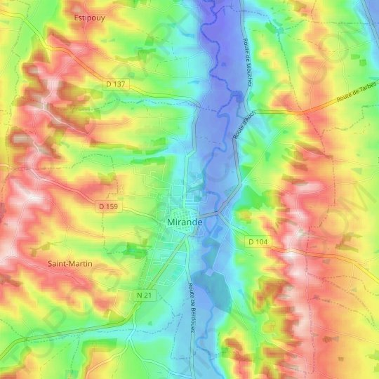 Mirande topographic map, relief map, elevations map