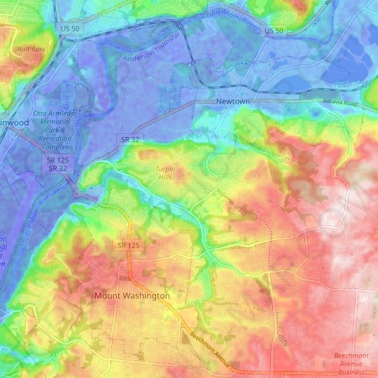 Turpin Hills topographic map, elevation, relief