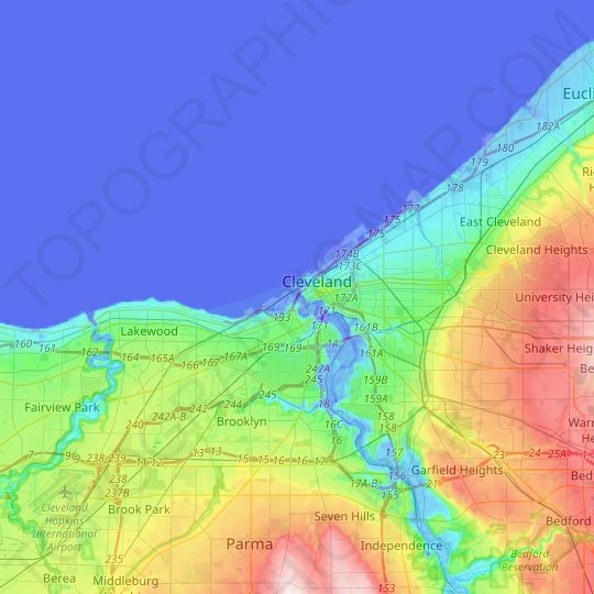 topographic map cleveland ohio Cleveland Topographic Map Elevation Relief