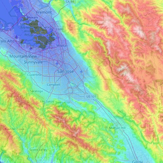 San Jose topographic map, elevation, relief