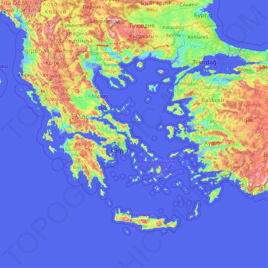 Greece topographic map, relief map, elevations map