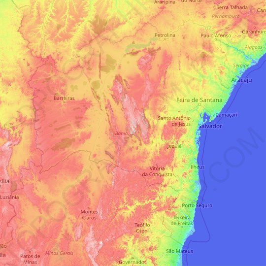 Bahia topographic map, relief map, elevations map