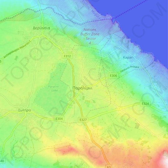 Paralimni topographic map, elevation, relief
