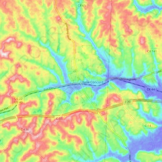 New Concord topographic map, elevation, relief