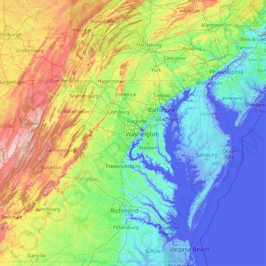 Maryland topographic map, relief, elevation