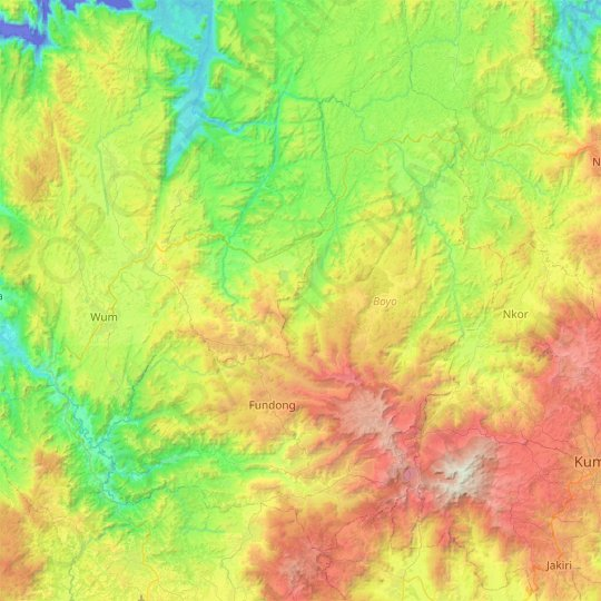 Boyo topographic map, relief map, elevations map