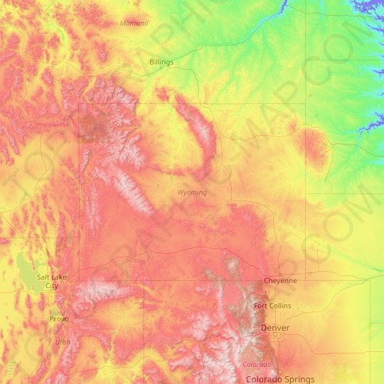 Wyoming topographic map, relief map, elevations map