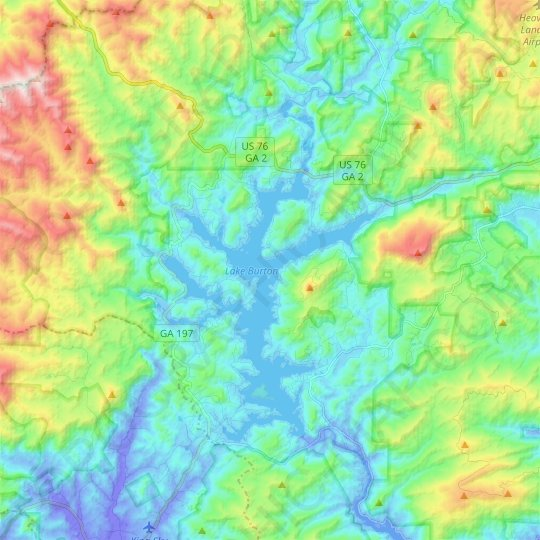 Lake Burton topographic map, relief map, elevations map
