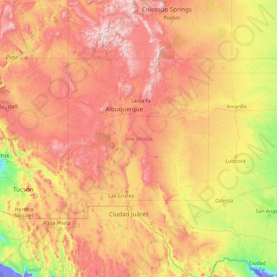 New Mexico topographic map, relief map, elevations map