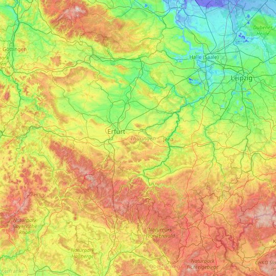 Thuringia topographic map, relief map, elevations map