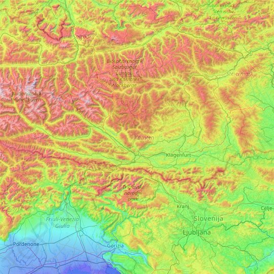 Carinthia topographic map, relief map, elevations map