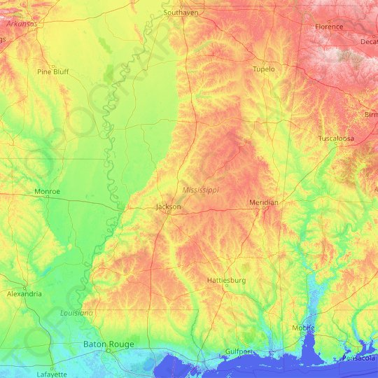 Mississippi topographic map, elevation, relief