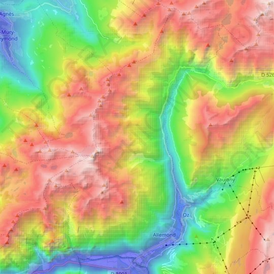 Allemond topographic map, relief map, elevations map