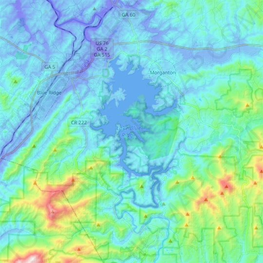 Lake Blue Ridge topographic map, elevation, relief