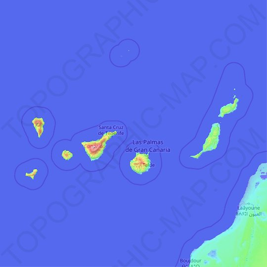Canary Islands topographic map, relief map, elevations map