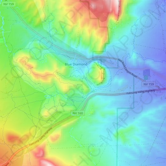 Blue Diamond topographic map, elevation, relief