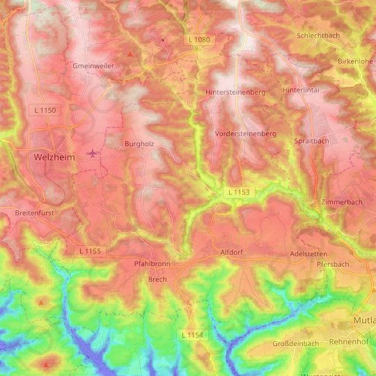 Alfdorf topographic map, relief map, elevations map