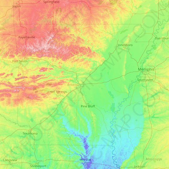 Arkansas topographic map, relief map, elevations map