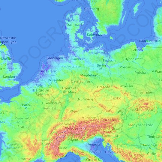 Map Of England Germany.Germany Topographic Map Relief Map Elevations Map