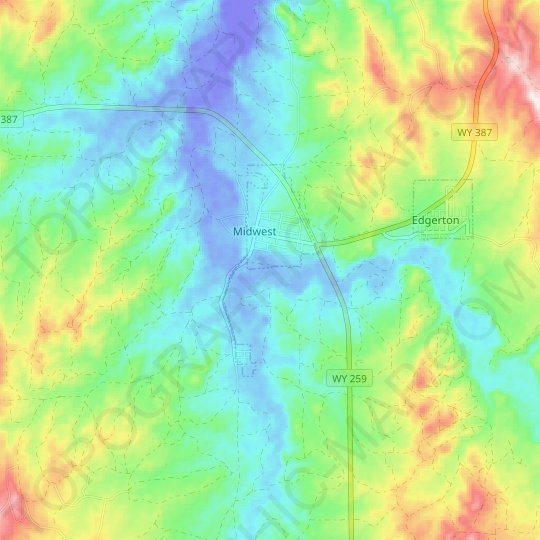 Midwest topographic map, elevation, relief