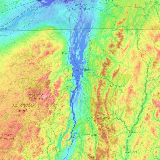 Lake Champlain topographic map, relief map, elevations map