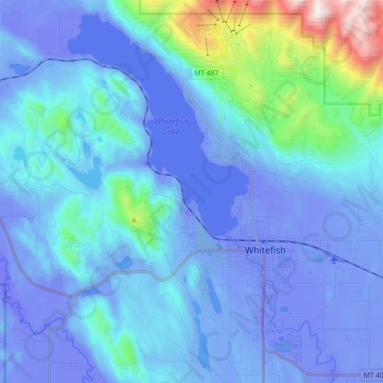 Whitefish topographic map, relief map, elevations map