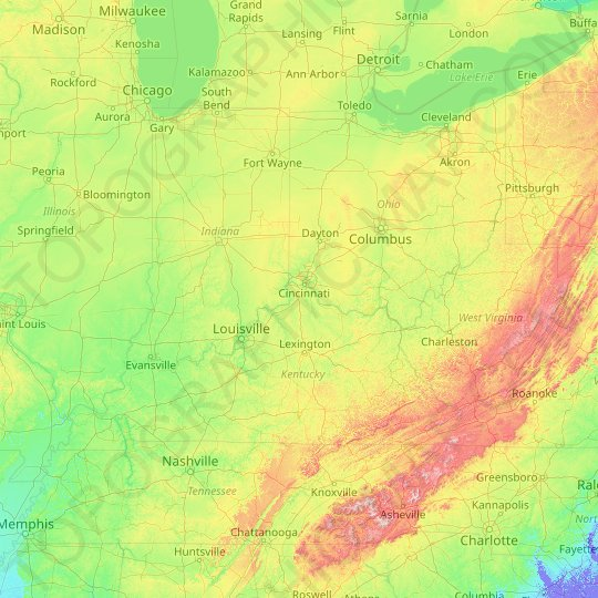 Ohio River topographic map, relief map, elevations map