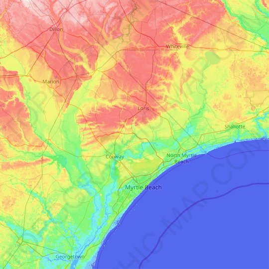 Horry County topographic map, relief map, elevations map
