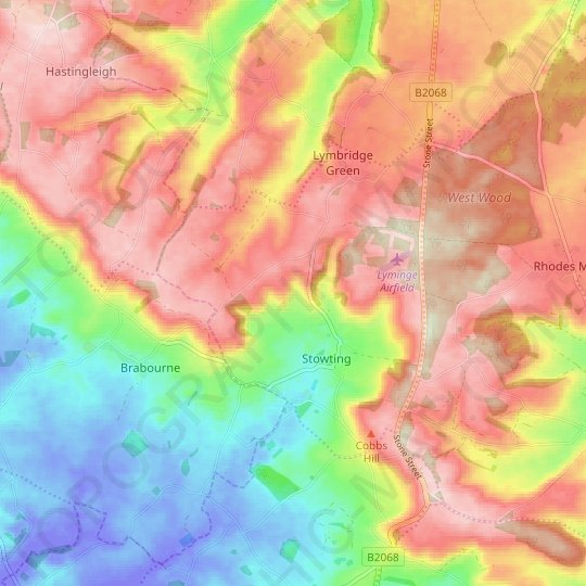 Stowting topographic map, relief map, elevations map