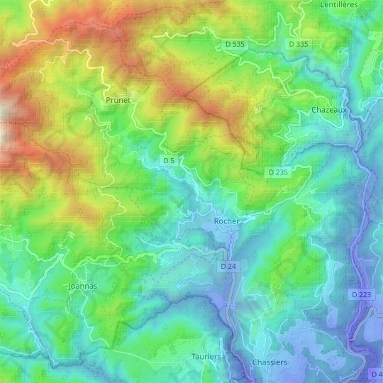 Rocher topographic map, relief map, elevations map