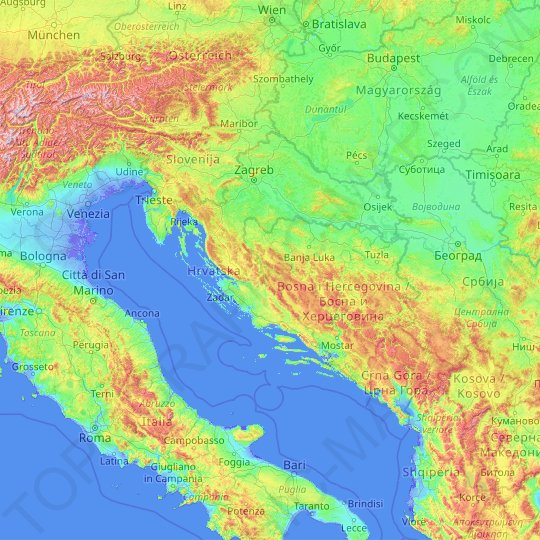 Croatia topographic map, relief map, elevations map