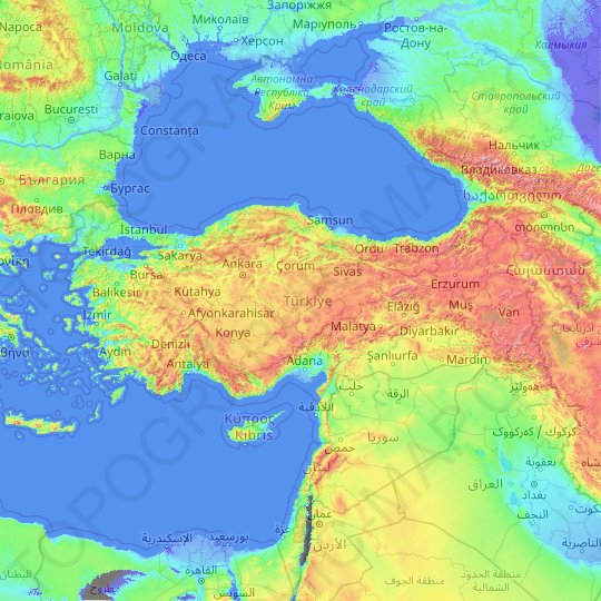 Turkey topographic map, relief map, elevations map