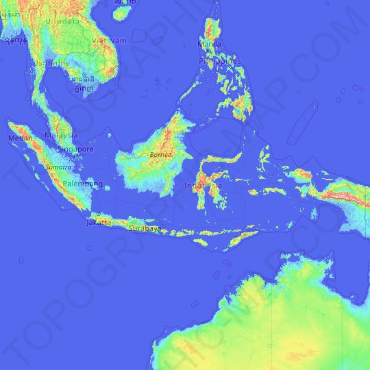 Indonesia topographic map, relief map, elevations map