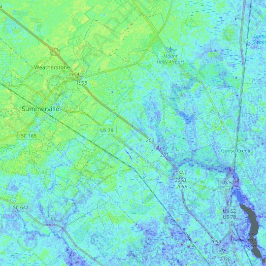 Ladson topographic map, elevation, relief